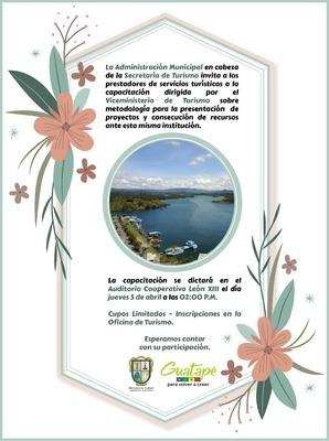 Capacitación Viceministerio de Turismo sobre Metodología para la presentación de proyectos y consecución de recursos ante esta misma institución.