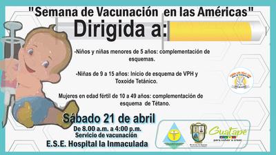"""Segunda  Jornada de Vacunacion: """"Semana de Vacunación en las Américas"""""""