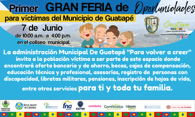 Primer gran feria de oportunidades para las víctimas del municipio e Guatapé