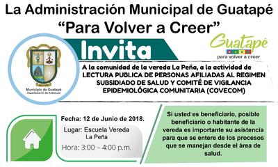 Lectura publica de personas afiliadas al régimen subsidiado de salud vereda La Peña