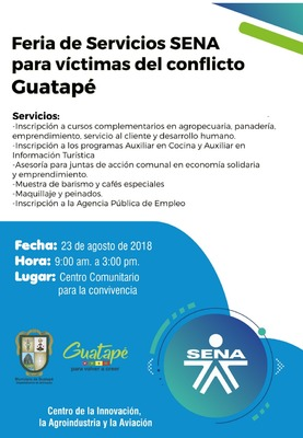Feria de servicios SENA para víctimas del conflicto en Guatapé.