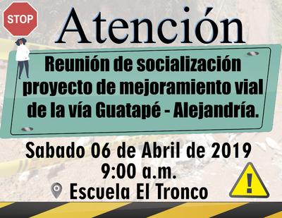 Reunión de socialización proyecto de mejoramiento  vial  de la vía Guatapé Alejandría.