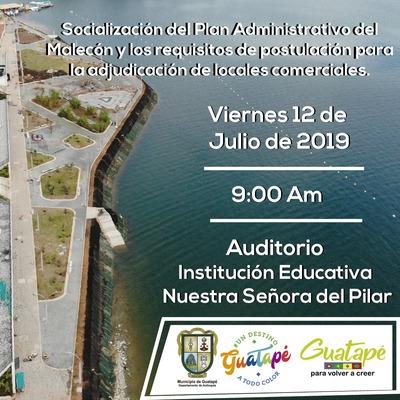 Socialización del Plan Administrativo del Malecón y los requisitos de postulación para la adjudicación de locales comerciales.