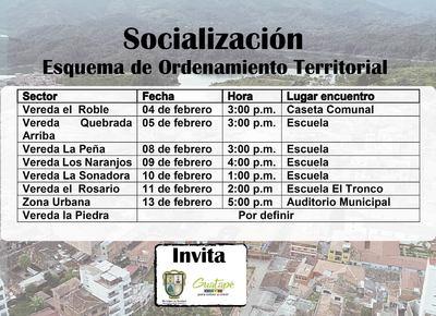 Jornadas de socialización del Esquema de Ordenamiento  Territorial.