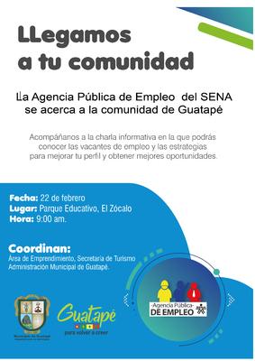 La agencia pública de empleo del  SENA se acerca al municipio de Guatapé.